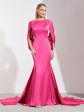 Mermaid Bateau Pleats Backless Evening Dress 2019