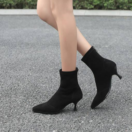 Pointed Toe Back Zip Suede Fashion Women's Ankle Boots