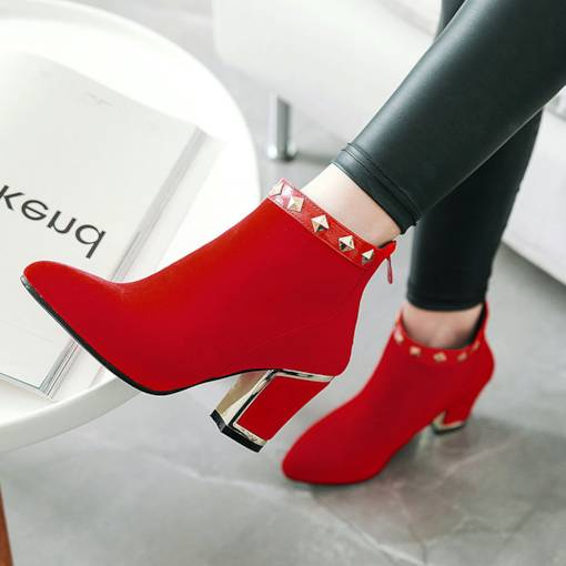 Suede Round Toe Rivet Back Zip Fashion Women's Ankle Boots
