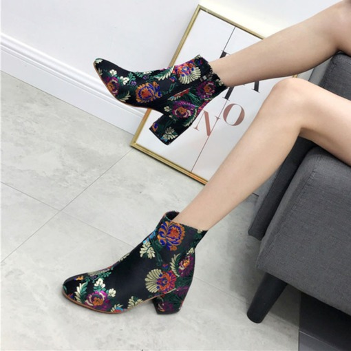 Round Toe Chunky Heel Side Zipper Floral Embroidered Ankle Boots