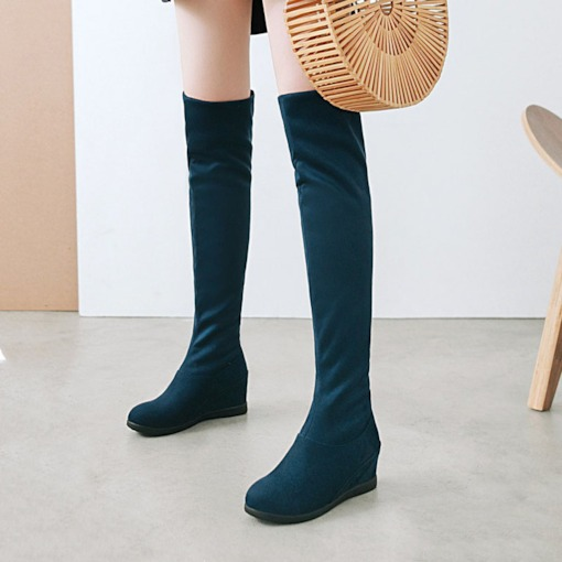 Suede Round Toe Slip-On Elevated Women's Knee High Boots