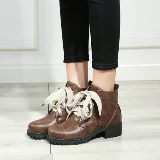Round Toe Lace-Up Front Block Heel Casual Martin Boots for Women