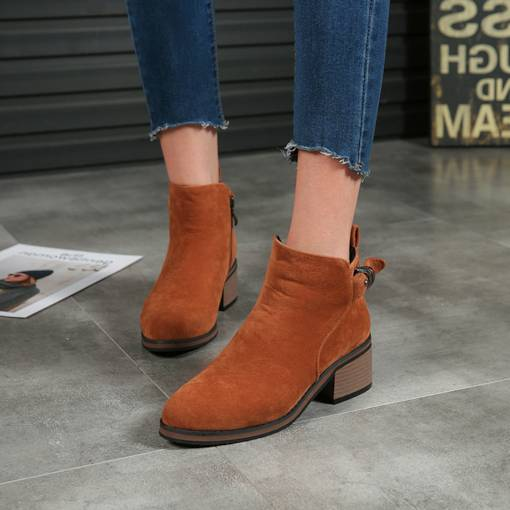 Round Toe Chunky Heel Buckle Trendy Women's Ankle Boots