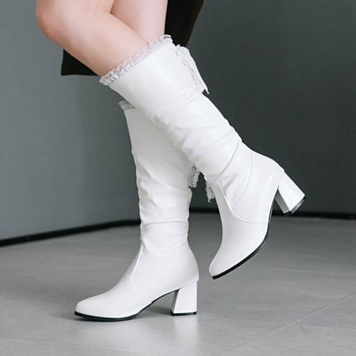 Pointed Toe Lace Purfle Chunky Heel Elegant Women's Mid Calf Boots