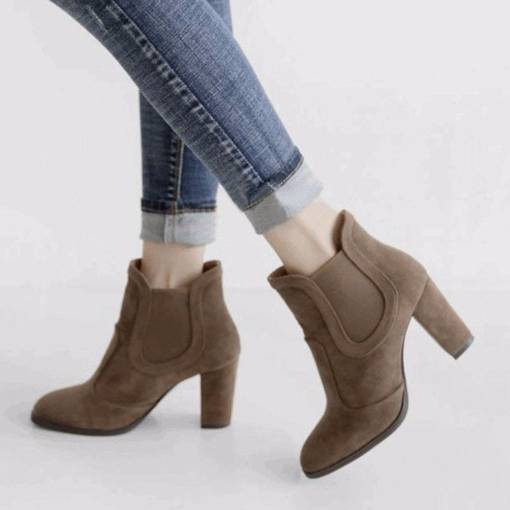 Round Toe Chunky Heel Elastic Patchwork Women's Ankle Boots