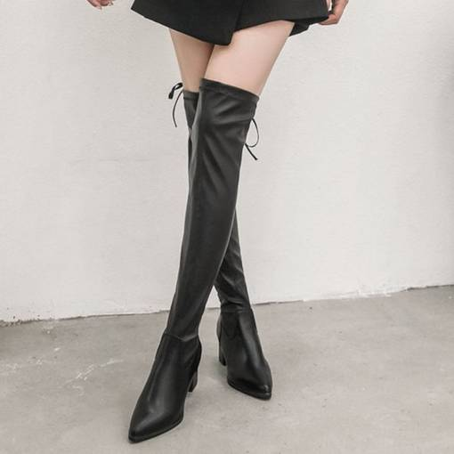 Pointed Toe Chunky Heel Lace-Up Back Women's Knee High Boots