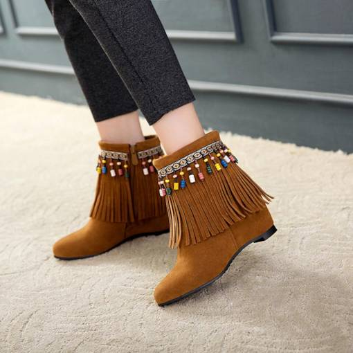 Fringe Round Toe Side Zipper Elevated Women's Ankle Boots