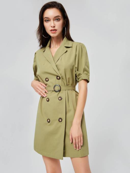 Double-Breasted Lapel Women's Day Dress