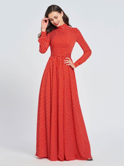Long Sleeves High Neck Dots Prom Dress