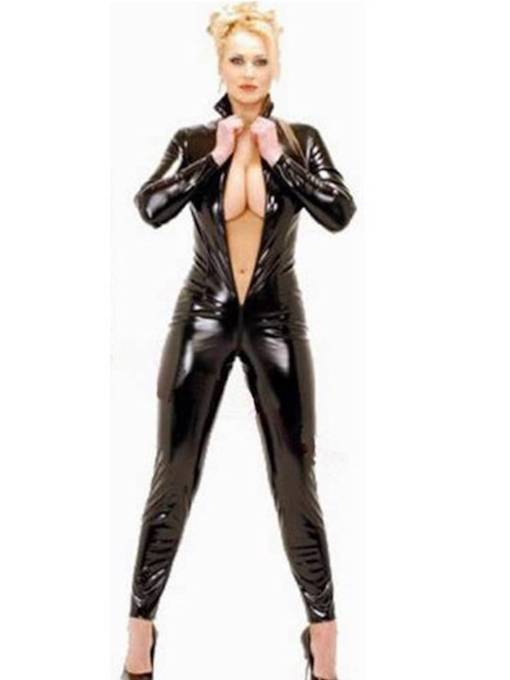 Clubwear Long Sleeve Plain Zipper Patent Leather Teddy