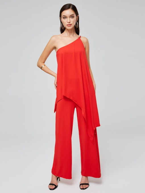 Plain One Shoulder Ruffled Women's Jumpsuit