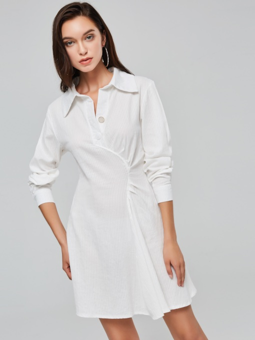 White Lapel Ruffled Women's Long Sleeve Dress