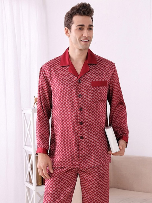 Print Plant Long Sleeve Silk Men's Pajamas Sets