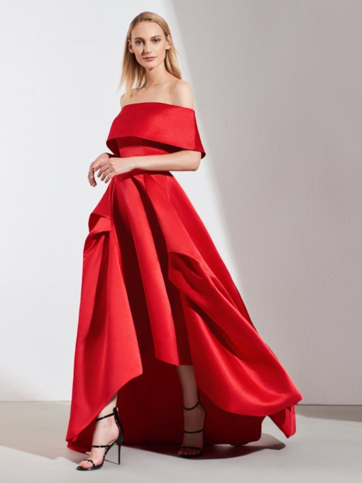 Off-the-Shoulder Pick-Ups High Low Red Evening Dress 2019