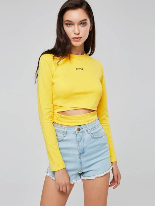 High Neck Hollow Out Women's Cropped T-Shirt
