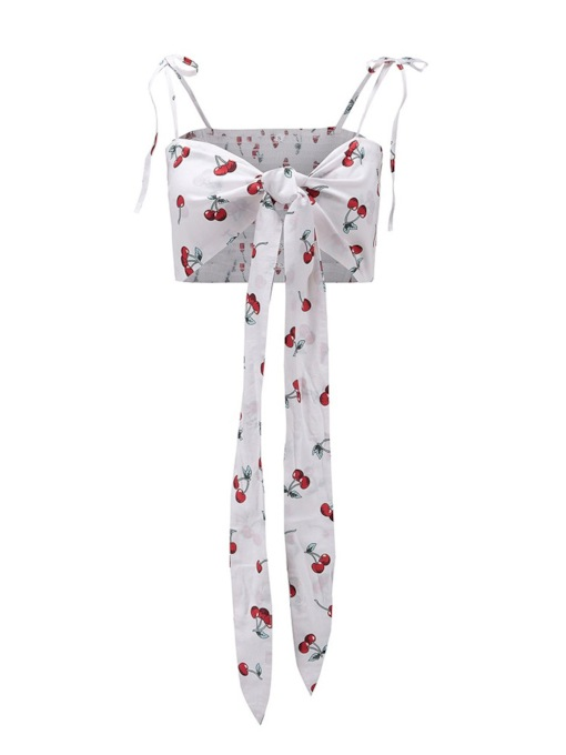 Tie Front Straps Fruit Print Travel Look Women's Cropped Top