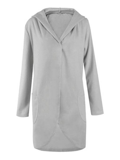 Plus Size Hooded Mid Length Pocket Women's Overcoat