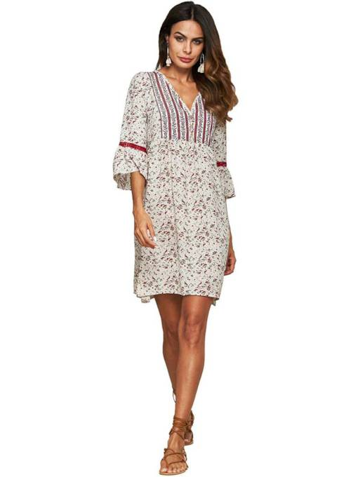 3/4 Length Sleeves V-Neck Floral Day Dresses