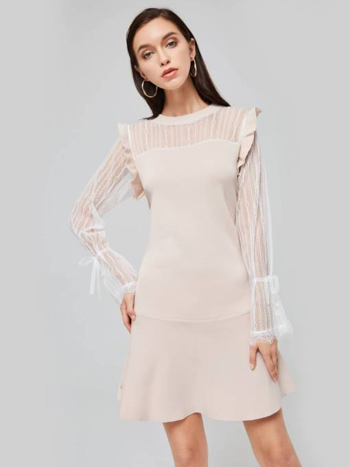 Patchwork See-Through Women's Sweater Dress