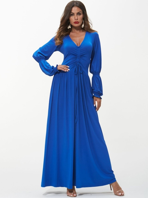Dark Blue Long Sleeves Maxi Dress