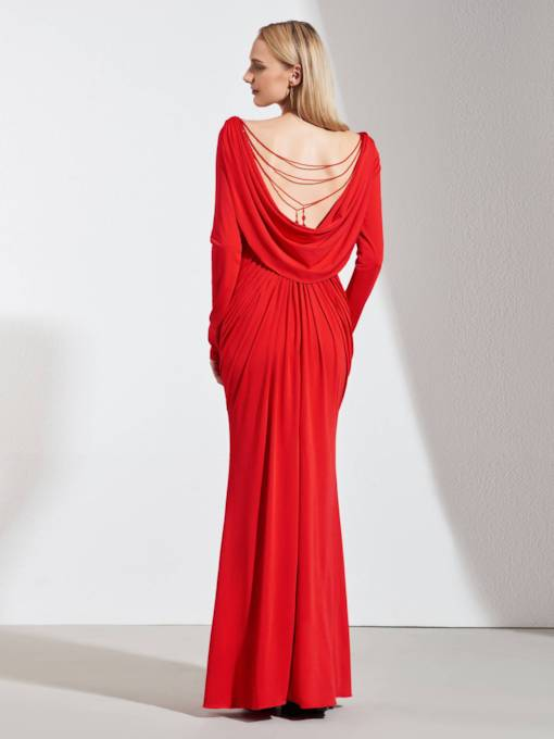 Beading Low Back Draped Long Sleeves Evening Dress