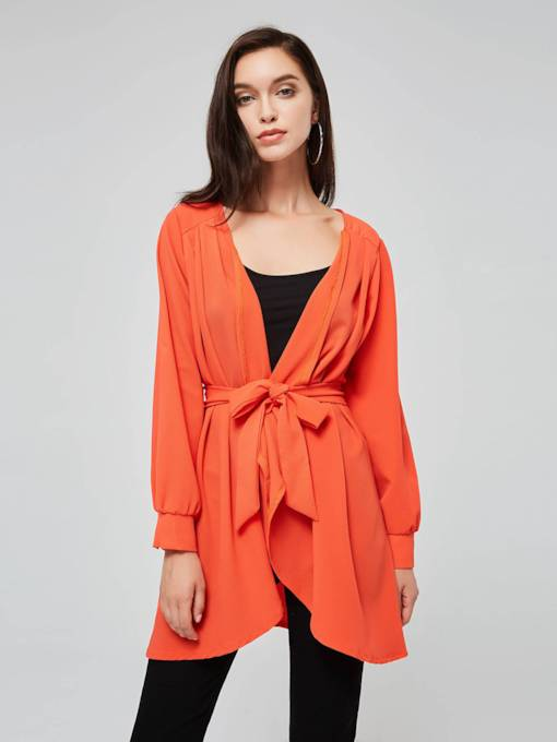 Orange A-Line Belt Women's Long Sleeve Dress