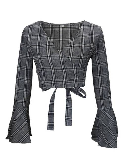 Tie Back Flare Sleeve Plaid Women's Cropped Blouse