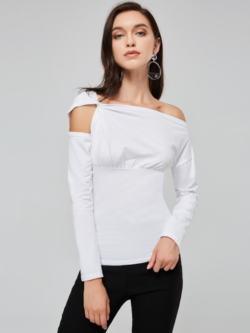 Oblique Collar Cold Shoudler High Waist Women's T-Shirt