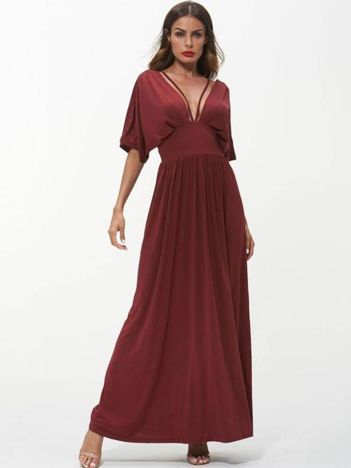 Batwing Sleeve Backless Maxi Dress