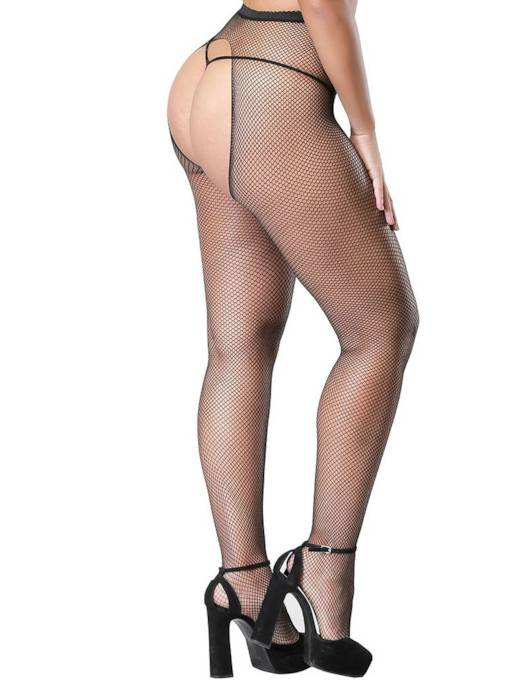 Open Crotch Small Mesh Pantyhose