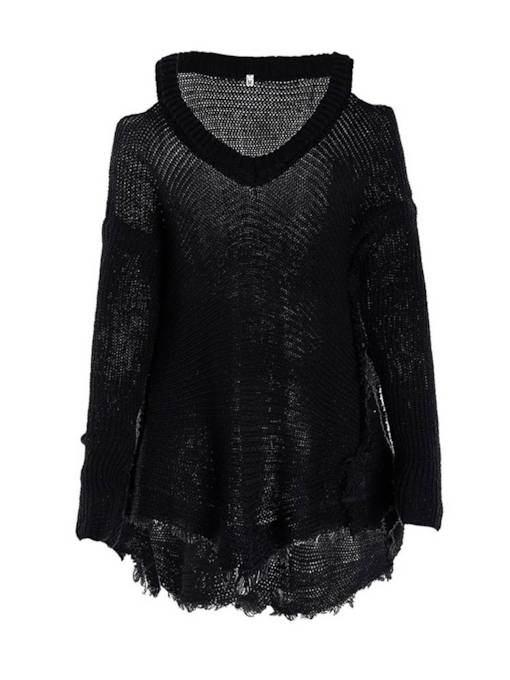 Cold Shoulder V-Neck Ripped Women's Knitted Tunic