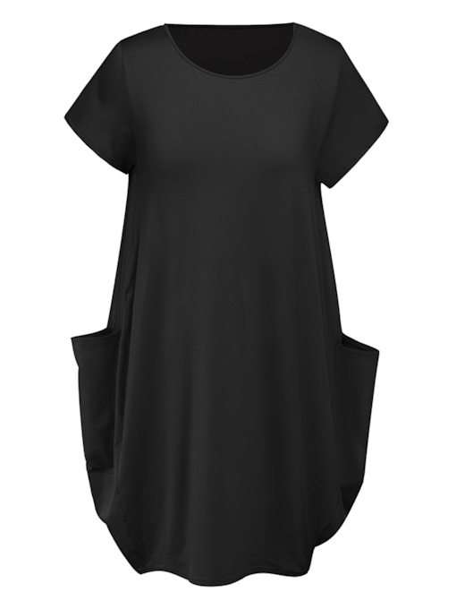 Short Sleeves Pocket Day Dress