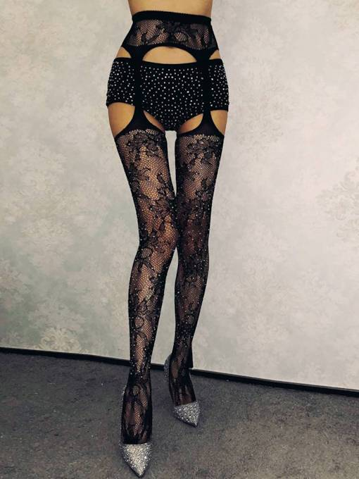 Jacquard Flower with Diamond Three-hole Sexy Pantyhose