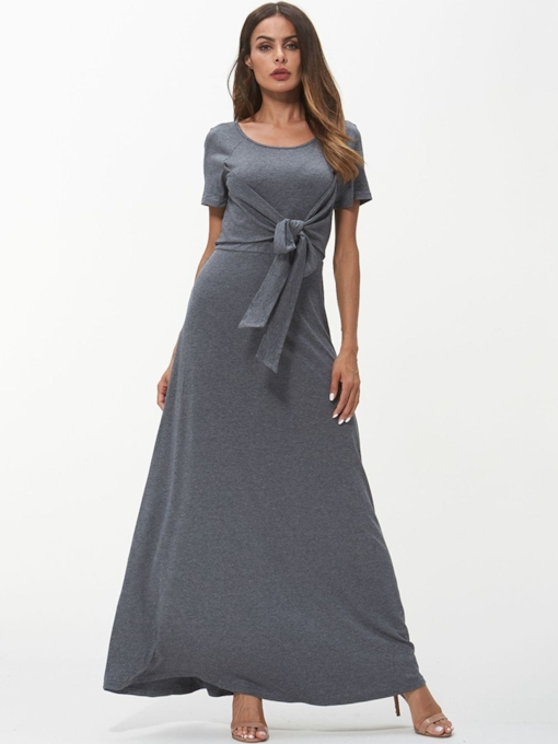 Short Sleeves Bowknot Maxi Dress
