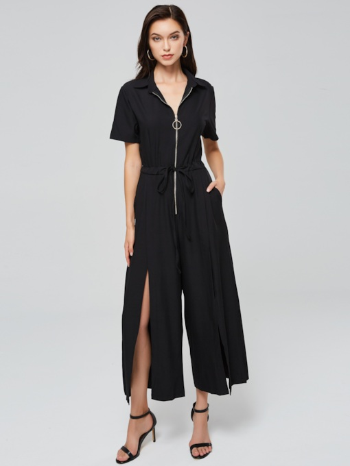 Plain Short Sleeve Zipper Split Women's Jumpsuit