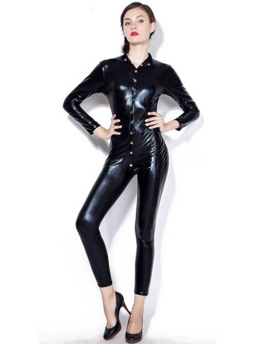 Plain Button Long Sleeve Patent Leather Teddy