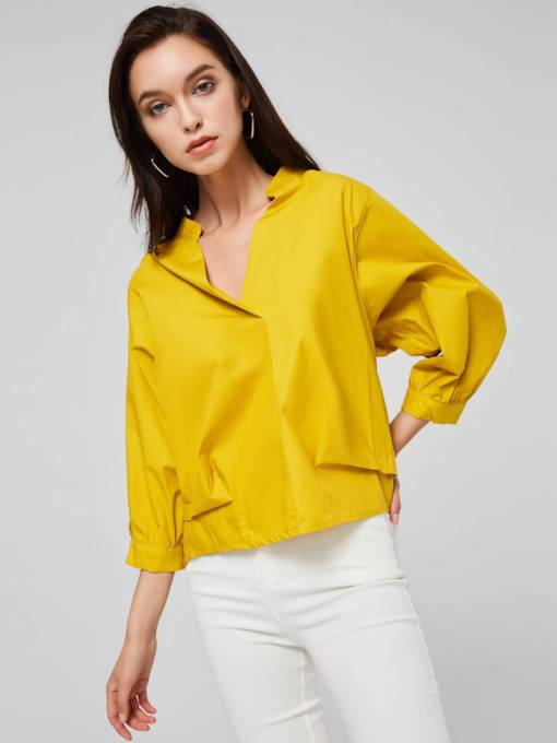Plain Pleated Pullover Single-Breasted Women's Blouse