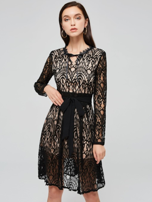 Black Long Sleeve Women's Lace Dress