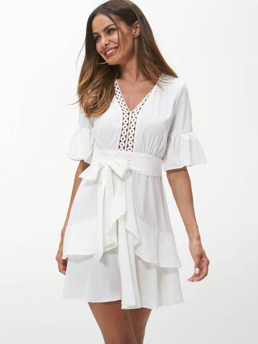 White Flare Sleeve Falbala Day Dress