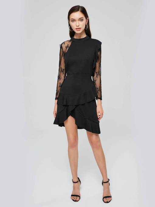 Stand Collar Lace Sleeve Ruffle Hem Day Dress
