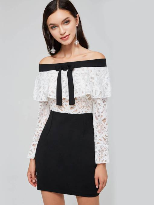 Slash Neck Lace Flare Sleeve Women's Day Dress