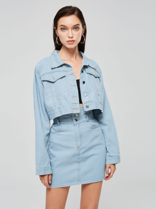 Denim Lapel Shirt and Skirt Women's Two Piece Set