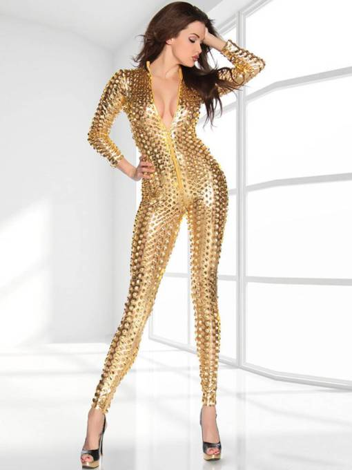 Jumpsuit Catsuit Romper Metallic Bodysuit Sexy Leather Clubwear