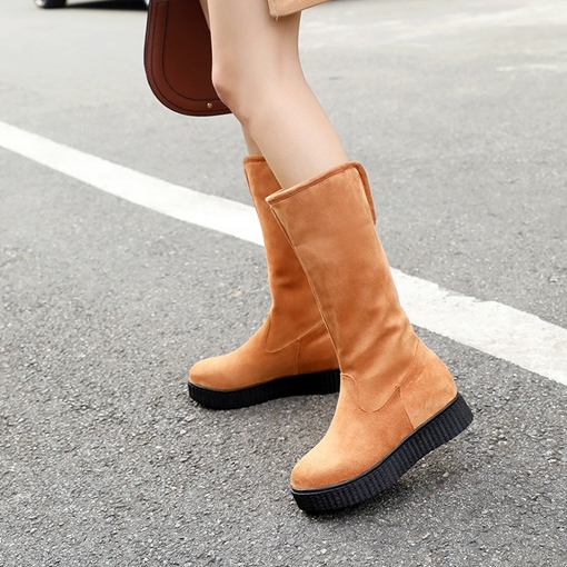 Round Toe Slip-On Platform Flat Women's Mid Calf Boots