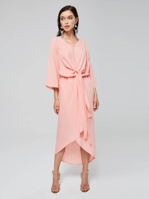 Plain Ruffled Asym Women's Day Dress