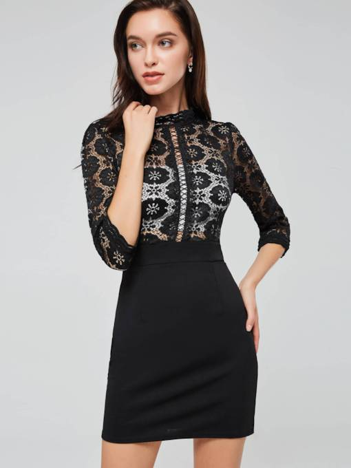 Patchwork Black Women's Bodycon Dress