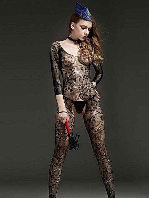 Open Crotch Long Sleeve Body Stocking