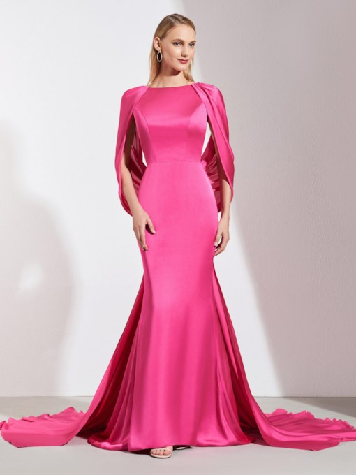 Watteau Train Mermaid Backless Evening Dress 2019
