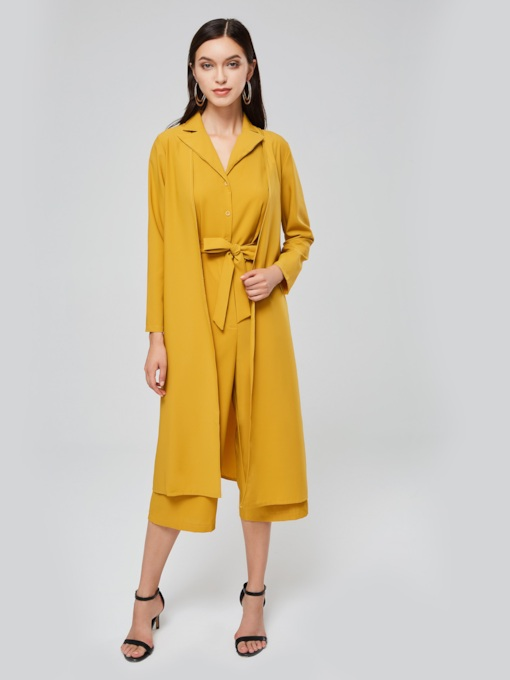 Casual Plain Cardigan and Jumpsuit Women's Two Piece Set