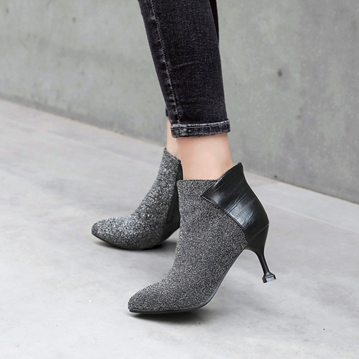 Pointed Toe Stiletto Heel Side Zipper Glitter Women's Ankle Boots
